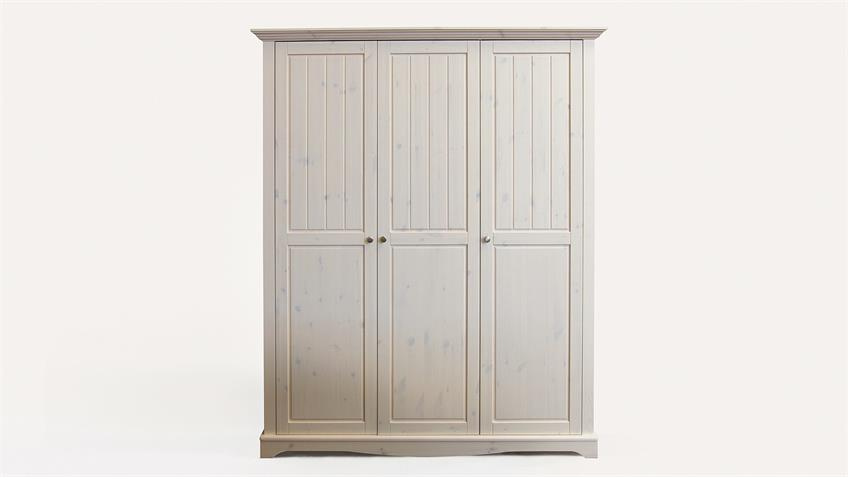 Kleiderschrank LOTTA Kiefer masssiv Weiß White Wash B 169 cm