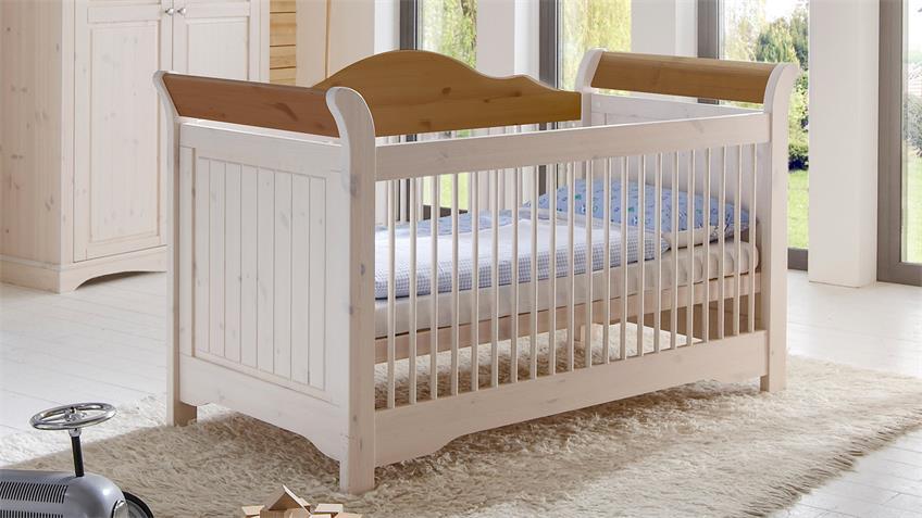 Babybett LOTTA Kiefer masssiv Weiß White Wash Provence