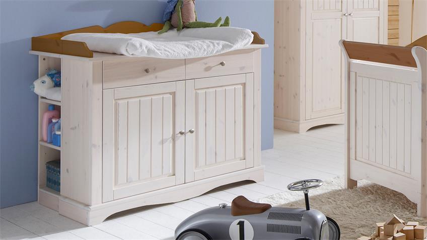 Wickelkommode LOTTA Kiefer masssiv White Wash Provence