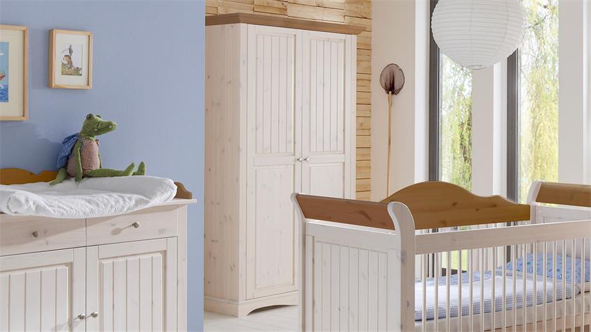 Kleiderschrank LOTTA Kiefer masssiv White Wash Provence
