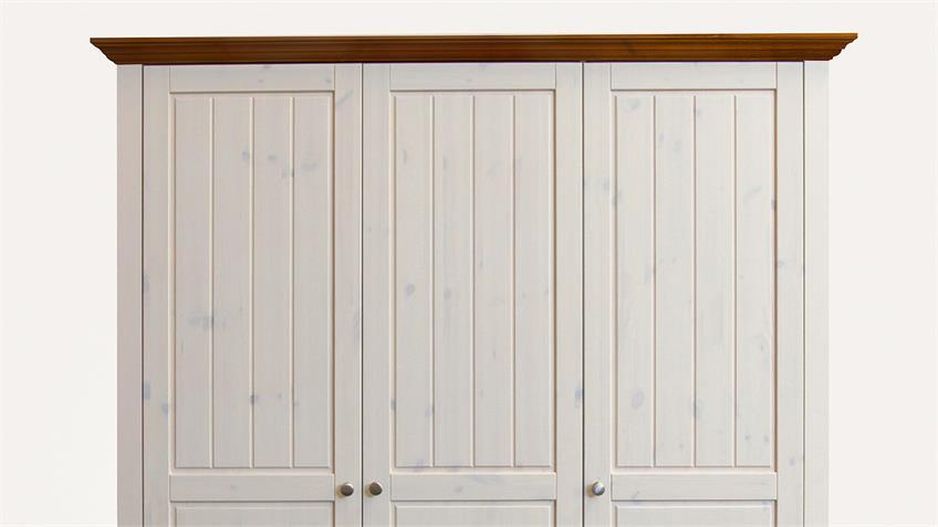 Kleiderschrank LOTTA Kiefer White Wash Provence 3 Türen