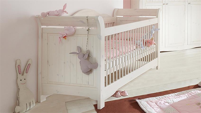 Babyzimmer LOTTA Kiefer masssiv Weiß White Wash 4-teilig