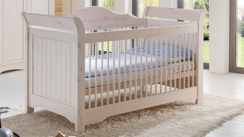 Babyzimmer LOTTA Kiefer masssiv Weiß White Wash 3-teilig