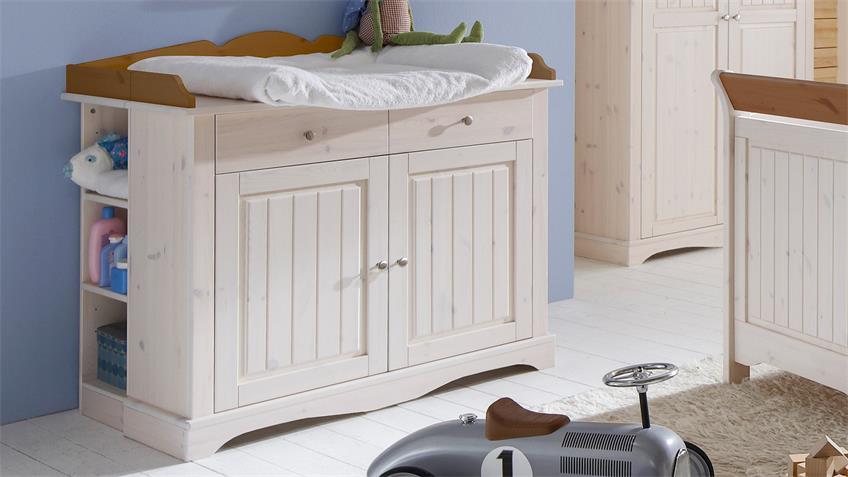 Babyzimmer LOTTA Kiefer masssiv Weiß White Wash Provence