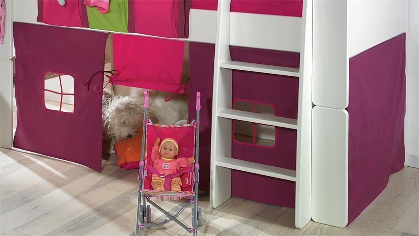 Hochbett STEENS FOR KIDS Weiß MDF 90x200 cm