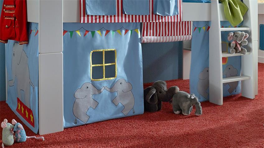 Hochbett STEENS FOR KIDS Weiß MDF Vorhänge Zirkus 90x200 cm