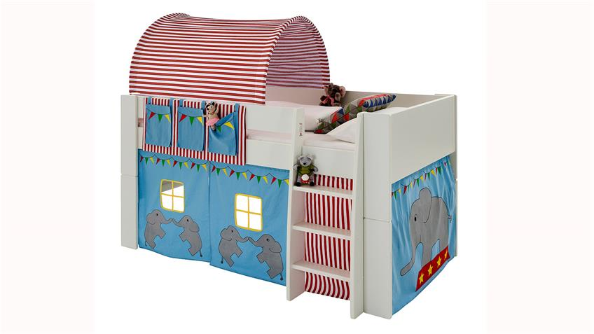 hochbett steens for kids wei mdf vorh nge zirkus 90x200 cm. Black Bedroom Furniture Sets. Home Design Ideas
