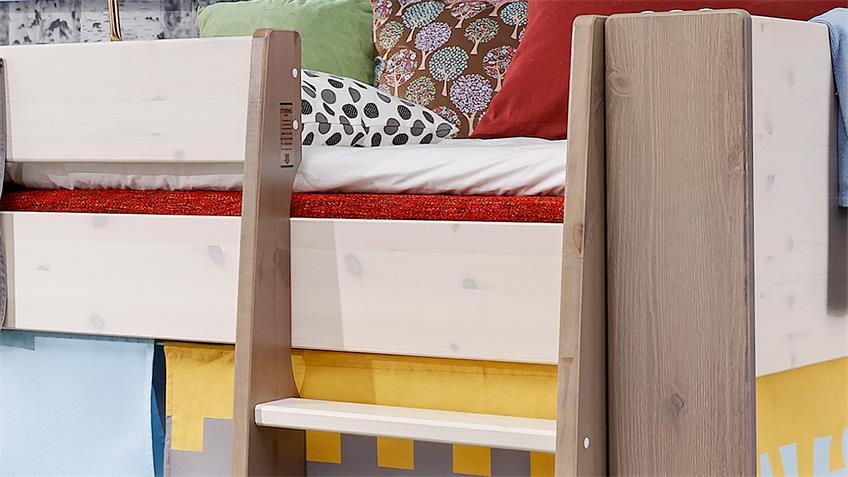 hochbett steens for kids kiefer wei vorh nge ritter 90x200 cm. Black Bedroom Furniture Sets. Home Design Ideas