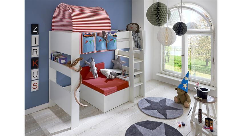 Hochbett STEENS FOR KIDS Weiß MDF Zirkus m Gästebett
