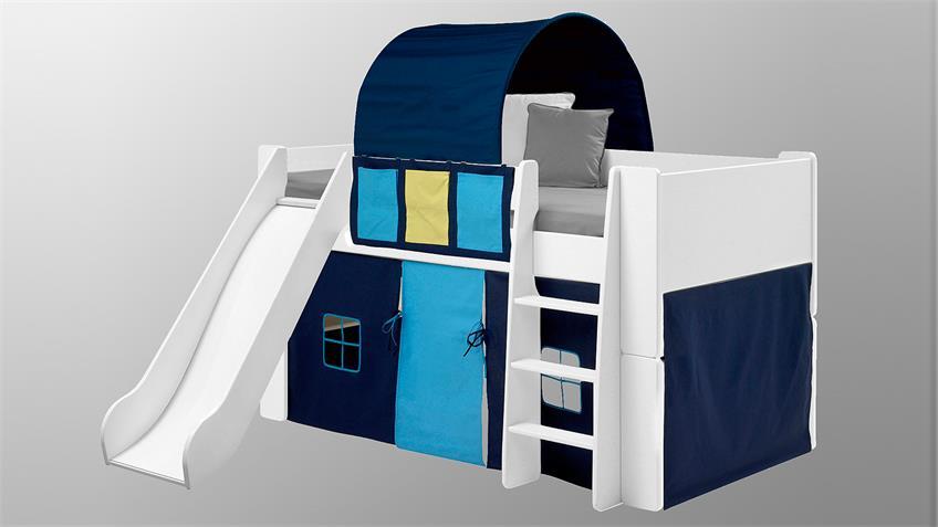 Hochbett STEENS FOR KIDS weiß MDF Vorhänge blau mit Rutsche