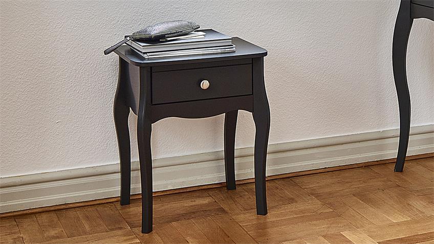 Nachttisch BAROQUE MDF in schwarz braun 1 Schublade