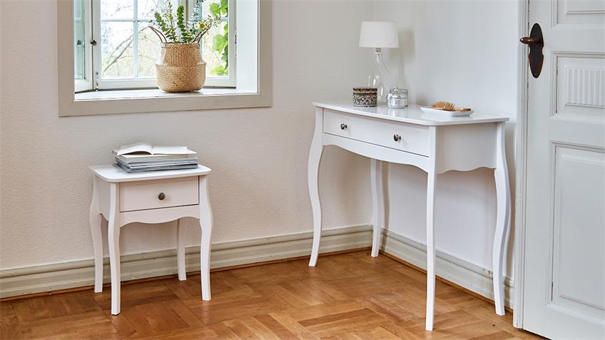 Nachttisch BAROQUE MDF in rein weiß 1 Schublade
