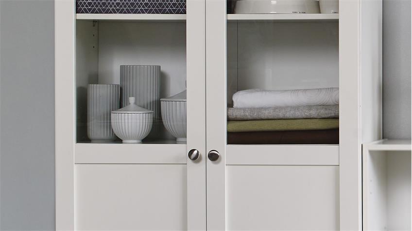 Regal ANETTE Vitrine in weiß hoch/breit 80cm breit mit Holz-/Glastüren