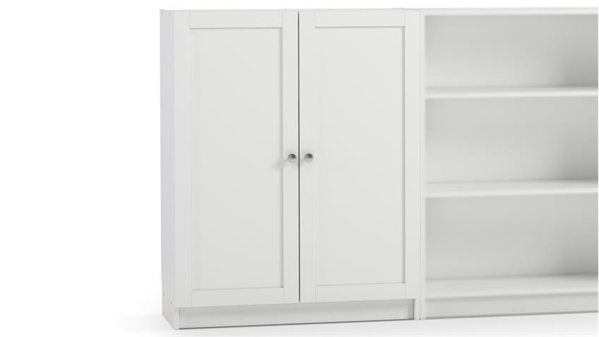 Regal ANETTE Schrank in weiß niedrig 80cm breit mit Holztüren