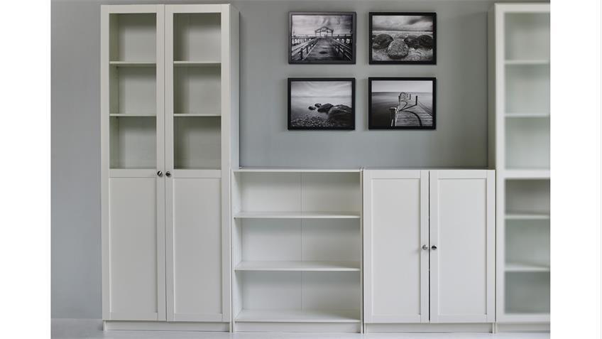 Regalwand 4 ANETTE Wohnwand in weiß 5-teilig