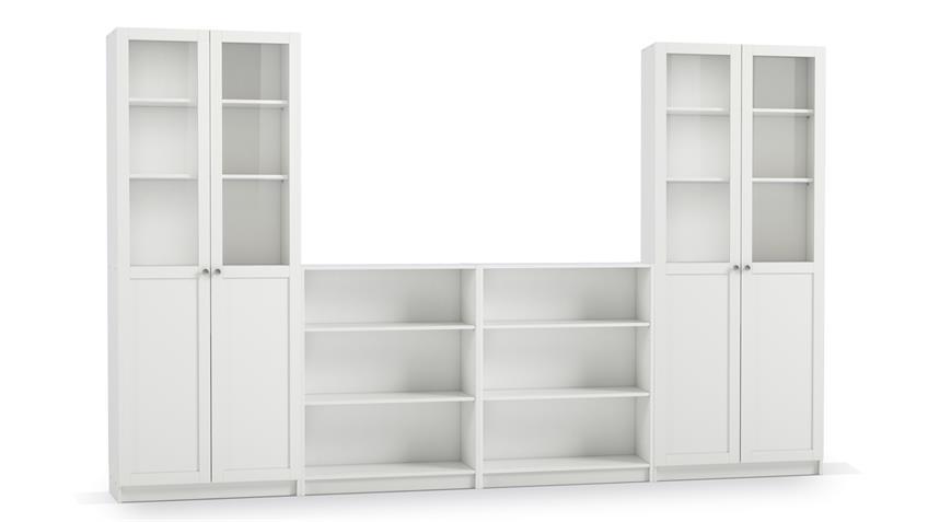 Regalwand 5 ANETTE 6-teilig Wohnwand in weiß