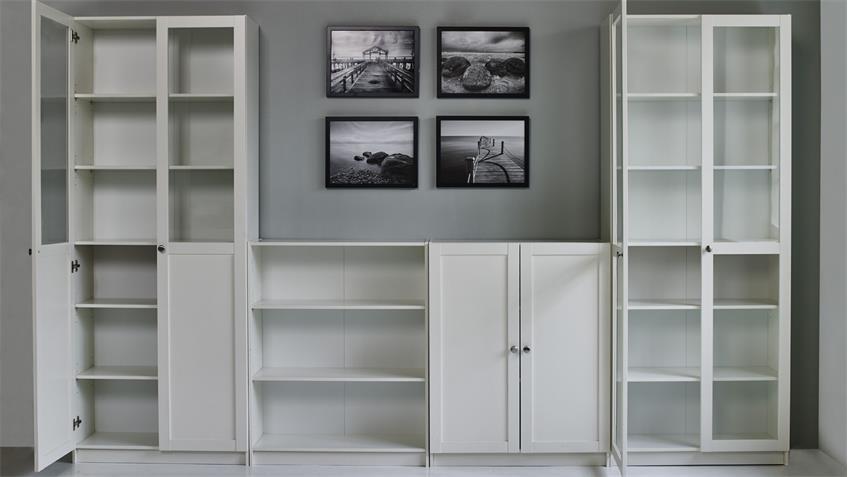 Regalwand 6 ANETTE 7-teilig Wohnwand in weiß