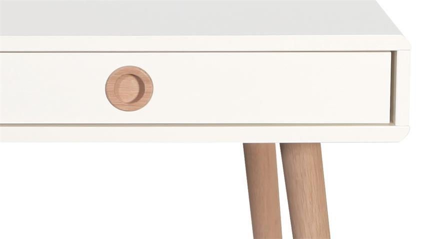 Schreibtisch SOFT LINE in weiß und Eiche massiv Bürotisch