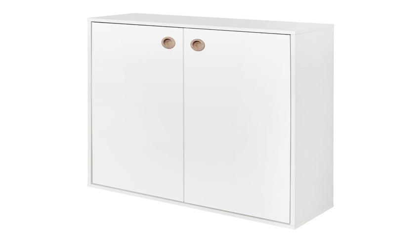 Hängeregal BOXY mit Türen Wandregal in weiß Dekor 35cm tief