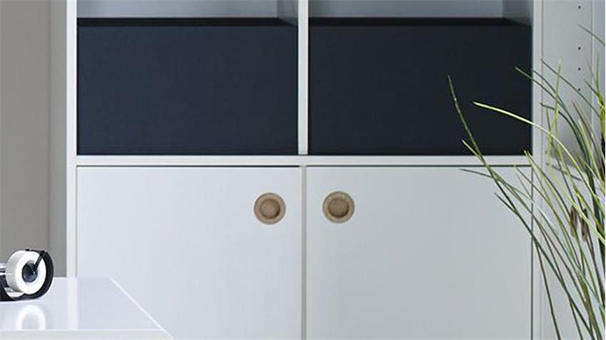 Standregal BOXY Regal mit Türen Hochregal in weiß Dekor