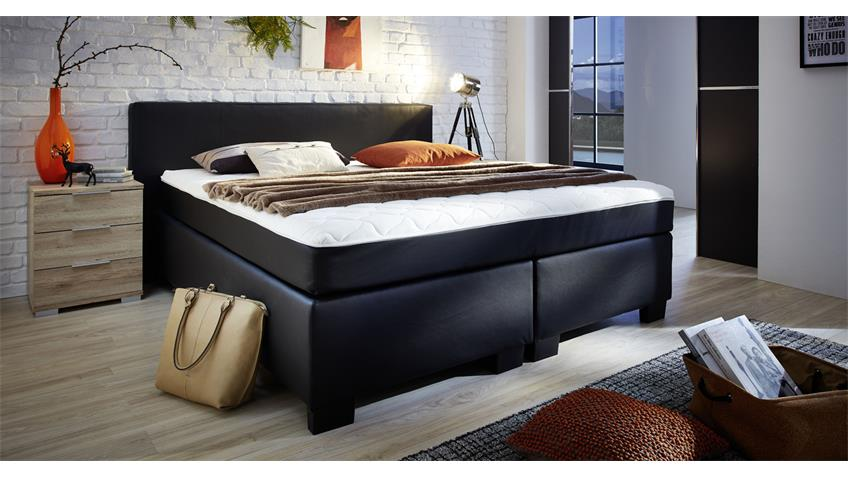 boxspringbett bx 290 in schwarz 180x200 mit topper. Black Bedroom Furniture Sets. Home Design Ideas