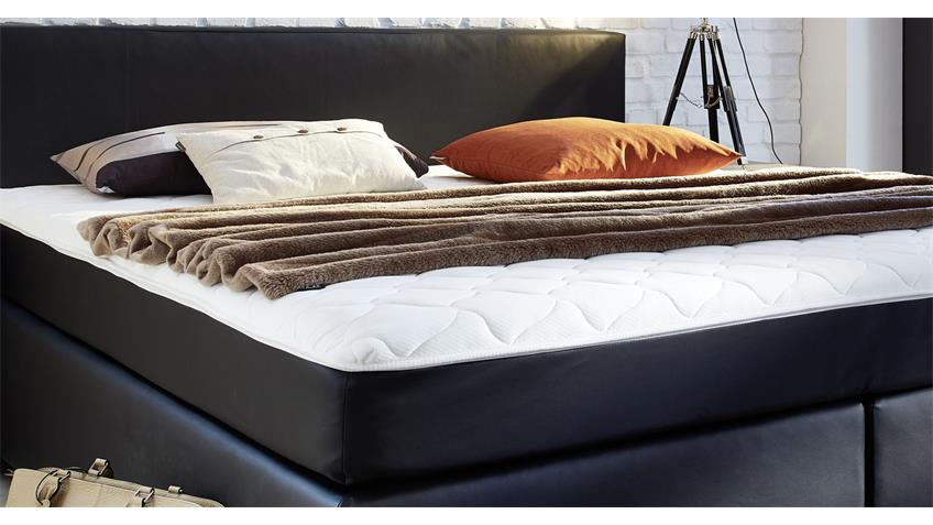boxspringbett bx 290 in schwarz 180x200 mit topper. Black Bedroom Furniture Sets. Home Design Ideas