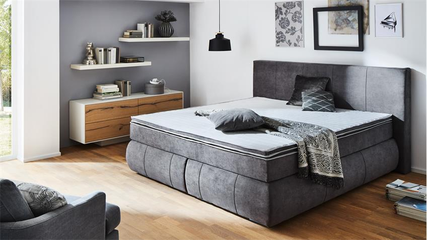 boxspringbett bx1150 tacoma in stoff grau 180x200 cm. Black Bedroom Furniture Sets. Home Design Ideas