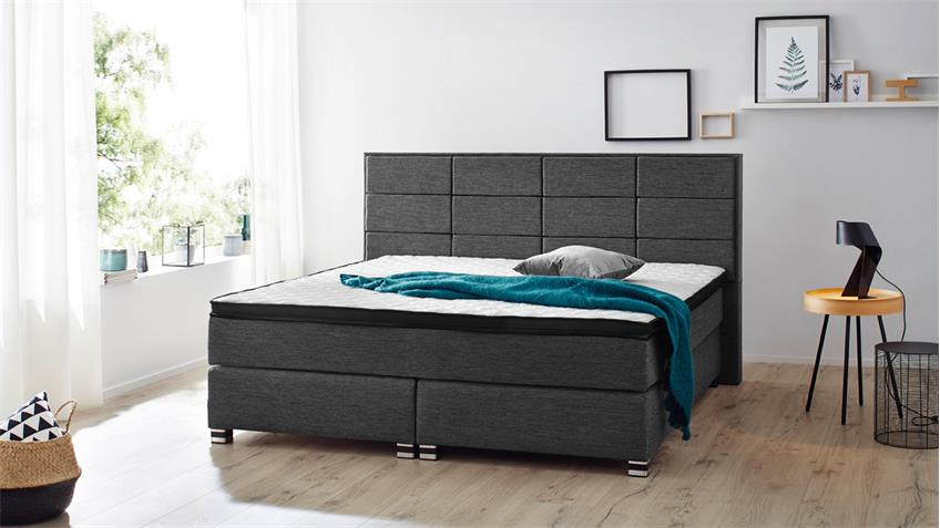 boxspringbett bx1120 weston in webstoff grau 180x200 cm. Black Bedroom Furniture Sets. Home Design Ideas