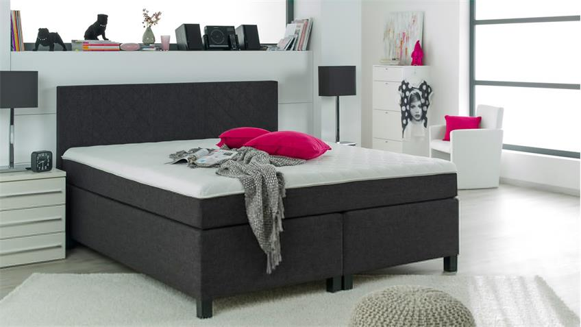 boxspringbett bx920 kentucky in stoff schwarz 180x200 cm. Black Bedroom Furniture Sets. Home Design Ideas