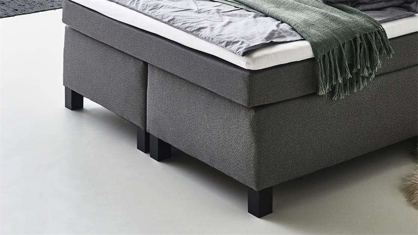 Boxspringbett PHILLY BX1480 Bett 140x200 Stoff grau Topper
