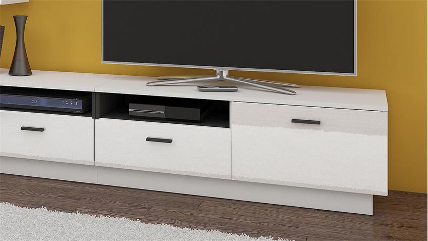 Wohnwand FLEXI Anbauwand Wohnzimmer in weiß Hochglanz und schwarz matt