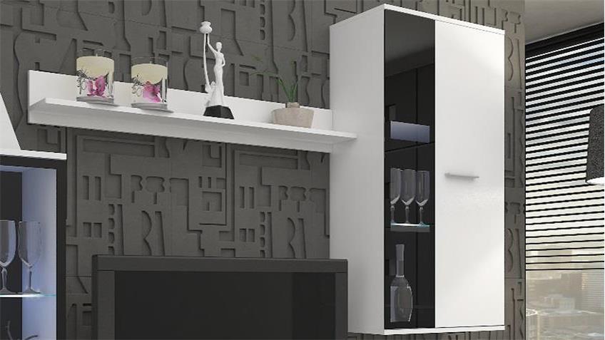 Anbauwand Wohnwand Salsas weiß matt und schwarz 235 cm