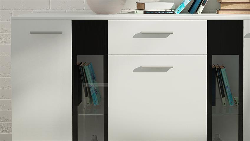 Sideboard Salsas Wohnzimmer Kommode weiß matt schwarz
