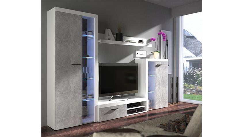 Wohnwand Rumba weiß und Beton hell Anbauwand 270 cm