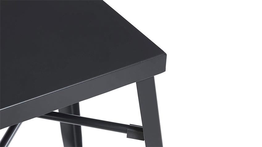 Barhocker Metall schwarz matt Industrial 2er Set Hocker