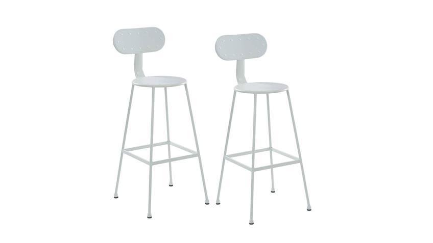 Barhocker Metall weiß Industrie Design 2er Set Rückenlehne