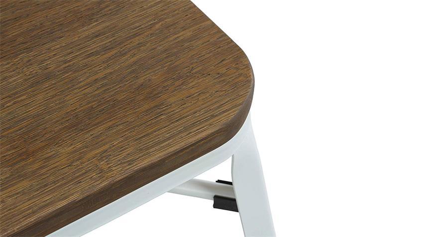 Hocker Bambus Sitz weiß Holz Metall Industrial Design 2er Set