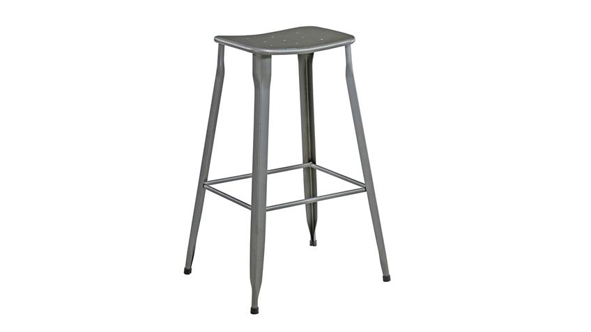 Barhocker 2er Set Industrial Design grau Metall modern