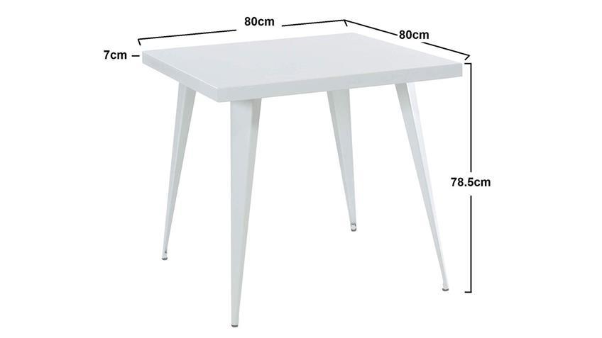 Tisch Küchentisch Bistrotisch Esstisch Stahl weiß Industrial