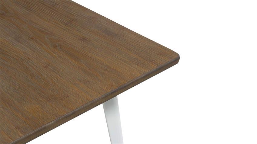 Tisch weiß Bistrotisch Küchentisch Industrial Stahl Bambus Holz
