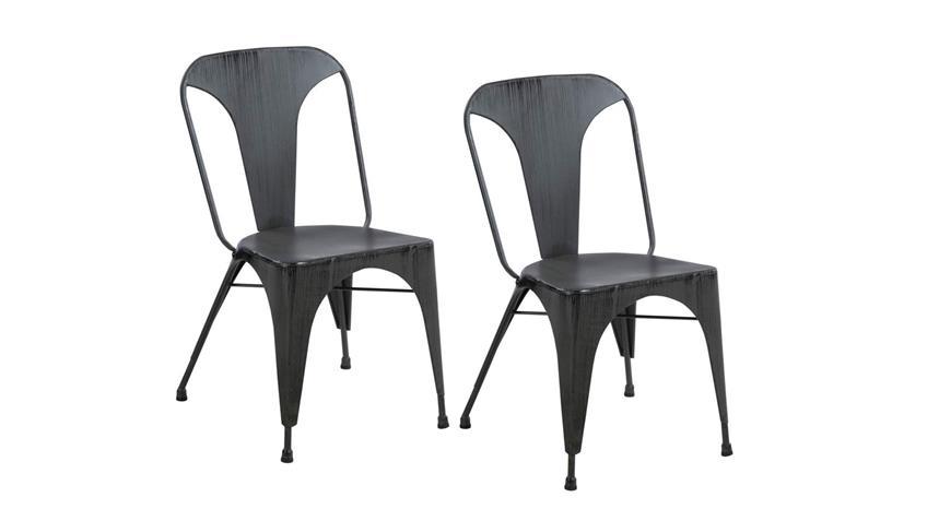 Bistrostuhl Retro Küchenstuhl 2er Set schwarz rustik Vintage