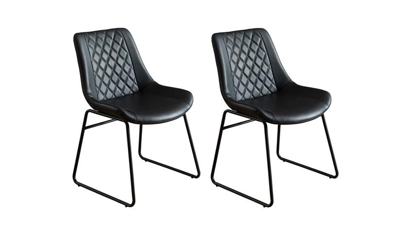 Stuhl Kunstleder Metall Esszimmerstuhl 2er Set schwarz