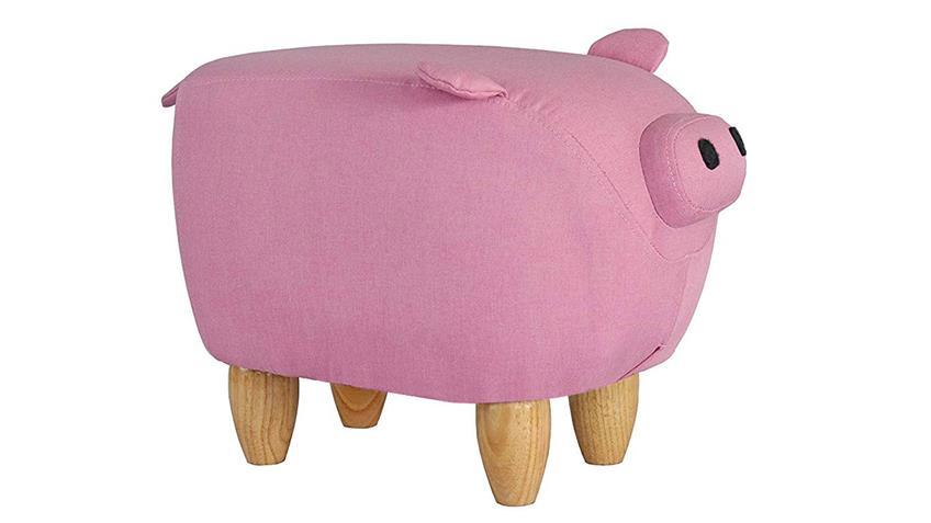 Tierhocker Piggy Schwein pink Massivholz Kinderhocker rosa