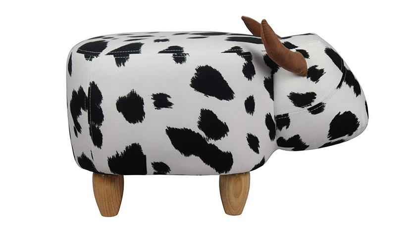 Tierhocker Kuh schwarz weiß Massivholz natur Kinderzimmer