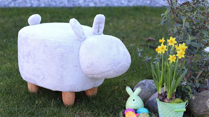Tierhocker Kinderhocker Hase weiß Sitzhocker Massivholz