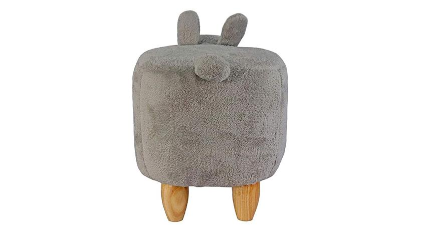 Kinderhocker Tierhocker Hase grau Sitzhocker Holz natur
