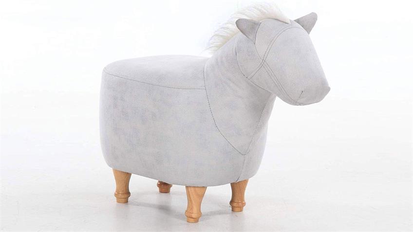 Kinderhocker Tierhocker Pferd hellgrau Sitzhocker Massivholz