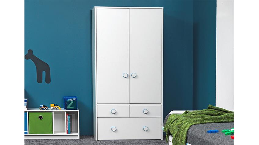 Kleiderschrank COMBEE Schrank Jungendzimmer 2 Türen in weiß