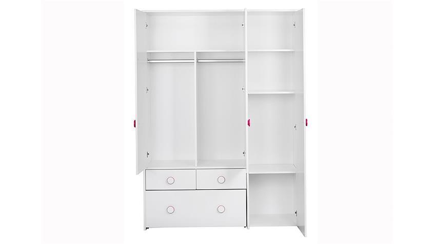 Kleiderschrank COMBEE Schrank Jugendzimmer 3 Türen in weiß