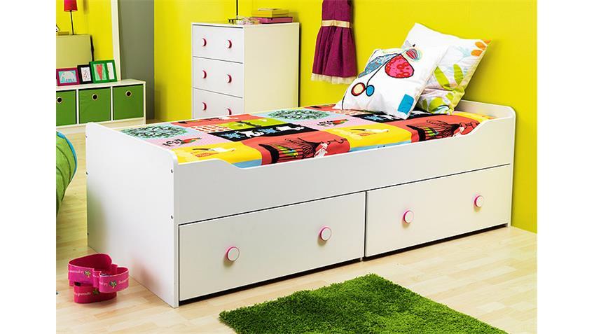 Bett COMBEE Gästebett Jugendzimmerbett in weiß 90x200 cm